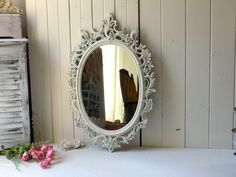 Antique White Oval Ornate Vintage Mirror by WillowsEndCottage