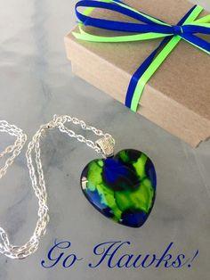 LOVE HAWKS Glass Heart Pendant Seattle Seahawks Inspired Ink Art  OOAK Necklace Jewelry  Fan 35mm A010 by myrockart on Etsy