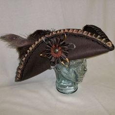 Deluxe Brown Pirate Hat Tricorn with Brown by RoyalHouseOfWhimsy, $80.00