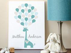 Baby Guest Book Baby Shower Sign-In Giraffe by MadeForKeepsShop