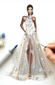 Pin on Fashion illustration - Elie Saab AW ✨ Copic Online Fashion Art, Online Fashion, Trendy Fashion, Fashion Sketchbook, Fashion Design Drawings, Fashion Sketches, Drawing Fashion, Fashion Illustration Dresses, Fashion Illustrations