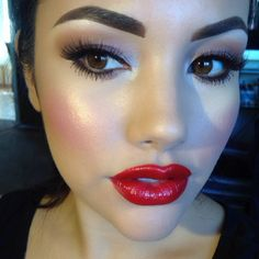 TUTORIAL :: MAC Neutralize CC Cream. 1 pump Matchmaster Foundation. Select Cover Up concealer under eye set w/ Anastastia banana powder. Petal Power blush w/ NYX golden pearl pigment. EYES: NW20 as h/l, Saddle in crease w/ Yogurt on lid, Costa Riche as liner. MAC #48 lashes. Anastasia dipbrow in dark brown. RiRi lipstick gloss (Vivia Glam) w/ high energy prolongwear lip pencil. Set w/ Fix! :: makeupme5's Instagram photos on Pinsta.me