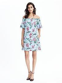 Off Shoulder Flutter Sleeve Floral Dress || banana republic