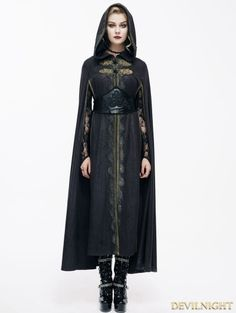 Black Gothic Vintage Style Coat Cape for Women