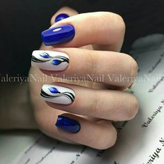 Blue nail designs Blue Nail Art Ideas for 2018 - Top 150 Designs - Our Nail Tulip Nails, Flower Nails, Blue Nail Designs, Acrylic Nail Designs, Blue Design, Stylish Nails, Trendy Nails, Us Nails, Hair And Nails
