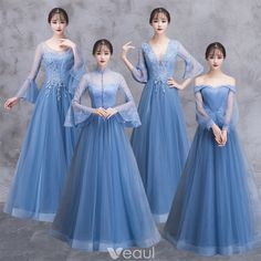 Elegant Ocean Blue See-through Bridesmaid Dresses 2018 A-Line / Princess Long Sleeve Appliques Lace Floor-Length / Long Ruffle Backless Wedding Party Dresses Blue Bridesmaid Gowns, Blue Wedding Dresses, Prom Dresses, Lace Bridesmaids, Dress Brukat, Dress Outfits, Fashion Dresses, Frack, Backless Wedding
