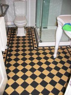 black and tan checkered floor Balcony Flooring, Checkered Floors, Tile Floor, Victorian, Creative, Kitchen, Crafts, Black, Ideas
