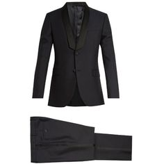 Valentino Shawl-collar wool and mohair-blend tuxedo ($3,950) ❤ liked on Polyvore featuring men's fashion, men's clothing, men's suits, slim fit mens clothing, mens tailored suits, mens tuxedo suits, valentino mens suits and mens slim suits