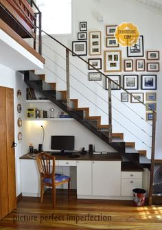 - Stairway Designs & Ideas - Local craftsmen executed our design for a custom-fitted office under the stairs . Local craftsmen executed our design for a custom-fitted office under the stairs leading to the mezzanine. Staircase Storage, Stair Storage, Staircase Design, Office Storage, Cd Storage, Basement Storage, Interior Stairs, Home Interior Design, Space Under Stairs