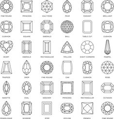 Gem Buying: 5 Ways to Understand Gemstone Cuts - Interweave Diamond Art, Diamond Shapes, Sea Glass Jewelry, Gemstone Jewelry, Aurelie Biderman, Gem Drawing, Arte Linear, Types Of Gems, Jewelry Design Drawing
