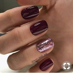Burgundy maroon with rose pink glitter accent short square nails
