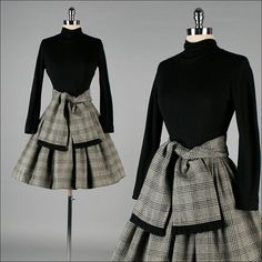 Inspiration: Vintage 1950s Black & White Wool Dress (note- use a belt or wide waistband in place of the cloth wrap)