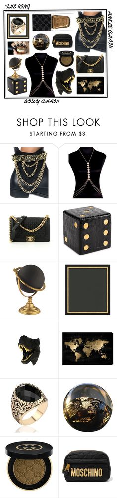 """Golden Black Statement Accessories"" by beanpod ❤ liked on Polyvore featuring Chanel, L'Objet, Oliver Gal Artist Co., Gucci and Moschino"