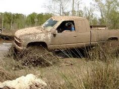 "Chevrolet Silverado lifted ""Mud Truck""  off-roading in the fun Mud !"