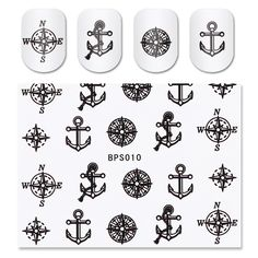 Compass Anchor Pattern Nail Water Decals Transfer Stickers Nail Art Sticker 1 Sheet BPS010 #6074