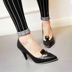 Pointed Toe Metal Women Pumps High Heels Dress Shoes