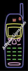 """Neon Sign - CELLULAR LOGO-10314-3148  13"""" Wide x 32"""" Tall x 3"""" Deep  110 volt U.L. 2161 transformers  Cool, Quiet, Energy Efficient  Hardware & chain are included  6' Power cord  For indoor use only  1 Year Warranty/electrical components  1 Year Warranty/standard transformers."""