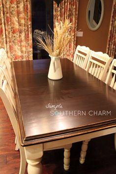 general finishes java gel stain- our dining room table before and
