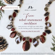 FREE gift for November Pop-up Hosts: our holiday-perfect Rebel Statement Necklace! Contact me today for more info.