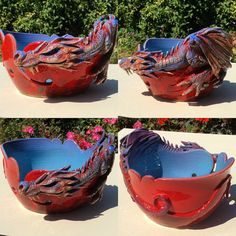 Hand thrown yarn bowl with a full Dragon modelled all the way around the outside of it. This stunning bowl has a lot of exquisite detail from the Crochet Tools, Knit Or Crochet, Yarn Organization, Santa's Little Helper, Pottery Sculpture, Yarn Bowl, Clay Creations, Red Purple, Yarn Crafts