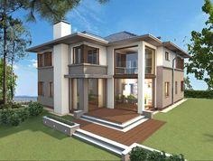 Projekt domu z antresolą - biuro projektowe - elewacja ogrodowa