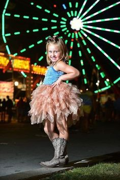 I had a great idea. We did Ad's six-year-old birthday photos at the Ohio State fair. What a fun photo shoot and the pictures turned out great. This ferris wheel pic was my favorite. The tutu and cowboy boots didn't hurt either Girl Photo Shoots, Girl Photos, Family Photos, Carnival Photography, Fair Photography, Carnival Photo Shoots, Maternity Photography Outdoors, Birthday Pictures, Kids Fashion
