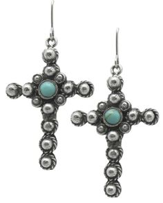 Dotted Cross with Turquoise Stone