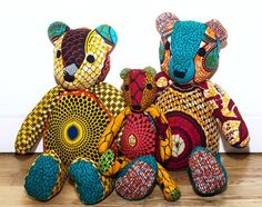 Adorable, African Print Teddy Bears by Native Belle Boutique African Crafts, African Home Decor, African Interior, African Print Clothing, African Print Fashion, African Textiles, African Fabric, Tilda Toy, African Babies