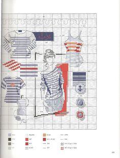 livre ''Mode d'hier et d'aujourd' hui au point de Croix'' de Véronique Enginger - Tendance mariniere