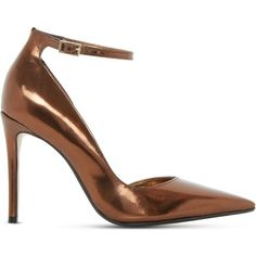 Dune Clementine metallic semi d'Orsay courts ($91) ❤ liked on Polyvore featuring shoes, pumps, pointed toe ankle strap pumps, metallic pointed toe pumps, high heel shoes, high heeled footwear and pointed toe pumps