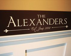 This Family Name Sign is carved on wood and measures 36 wide by 10 Tall. Each sign is custom engraved with the name of the family you provide us. It will be finished in the colors you choose. A metal sawtooth hanger on the back allows for easy installation while providing a secure mount. When checking out please make sure you let us know in the message to seller section: PLEASE DO NOT TYPE IN ALL CAPS!!! 1. The name 2. The est. date 3. The colors you would like for the text and background…