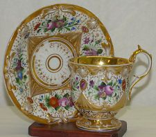 Antique 19th C Old Paris Dresden Porcelain Cup Saucer Set Floral Painted w/ Gold