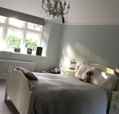 I really love this brilliant skylight design Blue Master Bedroom, Guest Bedroom Office, Guest Bedrooms, Bedroom Wall, Bedroom Decor, Bedroom Ideas, Bedroom Makeovers, Master Bedrooms, Farrow Ball