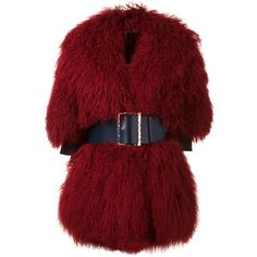 Christian Dada big belt buckled coat (6,788 CAD) ❤ liked on Polyvore featuring outerwear, coats, jackets, fur, red, buckle coats, christian dada and red coat