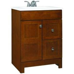 W Bath Vanity In Chestnut With Cultured Marble Vanity Top In White With  White Basin. 24 Inch ...