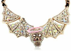 "Betsey Johnson ""Angel Devil"" Skull and Wings Necklace, 18"""