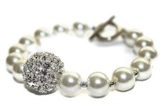 Beautiful Bridal Bracelet with Rhinestone Crystal Ball and Pearls
