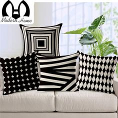 decorative pillows 573505333798883328 - WOMHOPE 4 Pcs – Vintage Style Cotton Linen Square Throw Pillow Case Decorative Cushion Cover Pillowcase Cushion Case for Sofa,Bed,Chair,Auto Seat Source by olivvroomvroom Cushion Design, White Sofa Pillows, Pillow Design, Diy Pillows, Decorative Pillow Covers, Luxury Cushions, Vintage Sofa, Patterned Throw Pillows, Decorative Pillows