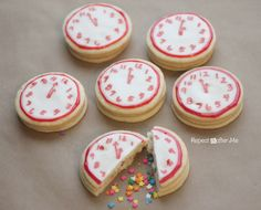 New Years Confetti Clock Cookies