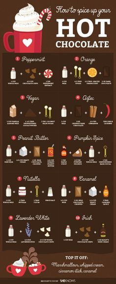 Spice your hot chocolate with peanut butter,orange,pumpkin spice,nutella,aztec,caramel,vegan, marshmallows, cinammon,peppermint,lavender,white chocolate, ! Love!