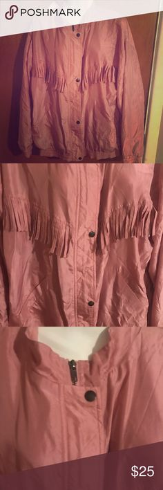 Pink fringe silk jacket lightweight blush Good condition! Out Brook Jackets & Coats