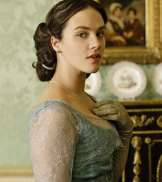 Jessica Brown Findlay wearing opera gloves in Downton Abbey.