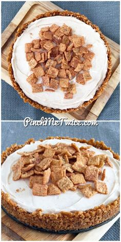 Cinnamon Toast Crunch No Bake Cheesecake from PinchMeTwice.com