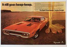 Vintage 1971 Plymouth Roadrunner 2 Page Original Advertisement Beep Beep Rapid