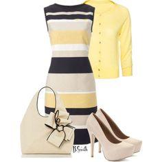 Fabulous Striped Dress with Yellow Blazer