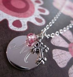 Baby Child Little Girl Baptism Christening by FairyTaleJewelsLLC Baby Girl Baptism, Baby Christening, My Baby Girl, Baby Love, Engraved Necklace, Initial Necklace, Baptism Gifts, Baptism Ideas, Kids Necklace