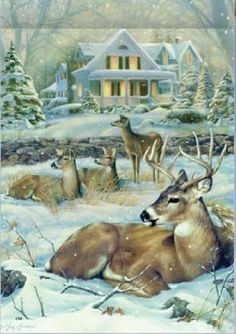 Deer and House Embroidery DIY Diamond Painting Cross Stitch Mosaic Pattern Square Rhinestone needlework gift Home Decor Christmas Tree Bows, Christmas Scenes, Christmas Animals, Christmas Art, Wildlife Paintings, Wildlife Art, Whitetail Deer Pictures, Image Halloween, Image Nature