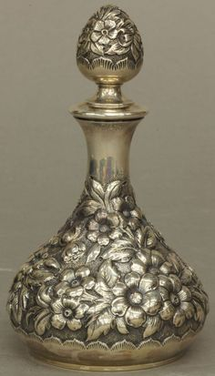 "STERLING SILVER PERFUME BOTTLE height- 5 3/4"" weight- : Lot 259"