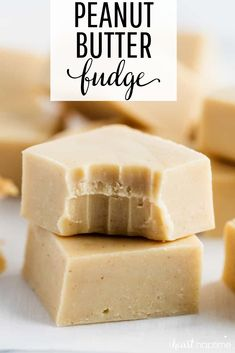 This peanut butter fudge is super smooth, creamy and  one of the easiest fudge recipes ever! #fudge #fudgerecipes #candy #homemade #peanutbutter #peanutbutterrecipes #easy #easyrecipe #desserts #dessertrecipes #sweets #recipes #iheartnaptime
