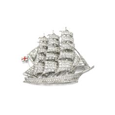 Diamond brooch, 1950s Designed as a clipper, set with circular-cut and baguette diamonds, the ensign decorated with red and white enamel. Via Sotheby's